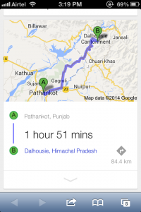 Pathankot to Dalhousie distance