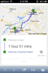 Pathankot to Dalhousie distance